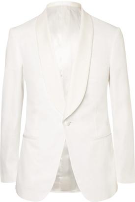 White Harry Slim-Fit Faille-Trimmed Cotton Tuxedo Jacket $1,995 thestylecure.com