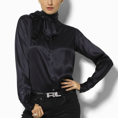 Ralph Lauren Black Label Marsha Silk Tie-Neck Blouse
