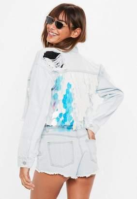 Missguided Blue Cropped Mermaid Sequin Denim Jacket