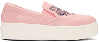 Kenzo Pink K-PY Tiger Platform Slip-On Sneakers $335 thestylecure.com