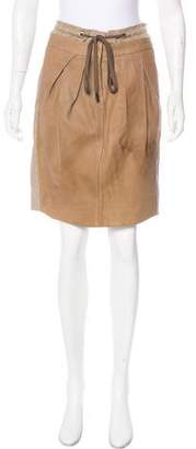 Gunex Leather-Paneled Knee-Length Skirt