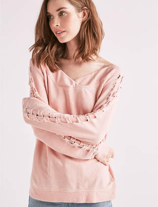 Lucky Brand Lace Up Off The Shoulder Sweatshirt
