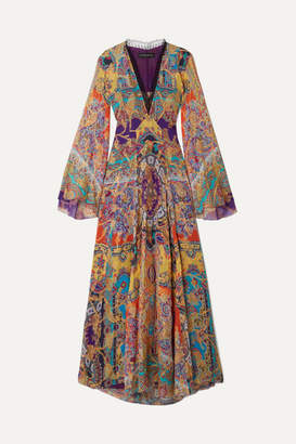 Etro Lace-trimmed Fil Coupé Silk-blend Chiffon Maxi Dress - Purple