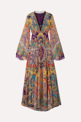 Etro Lace-trimmed Fil Coupé Silk-blend Chiffon Maxi Dress - Purple