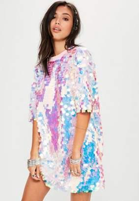 Missguided Pink Sequin T Shirt Dress