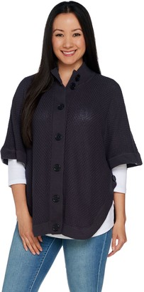 Denim & Co. Stand Collar Button Front Poncho Sweater