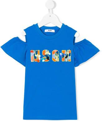 MSGM logo off-the-shoulder T-shirt