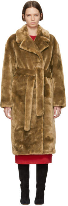 Brown Faux-Fur Oversized Luxe Trench Coat