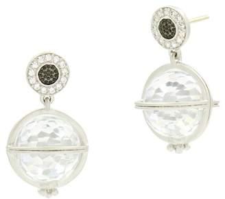 Freida Rothman Platinum Rhodium & Black Rhodium Plated Pave CZ Orbit Drop Earrings