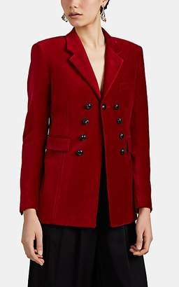 Saint Laurent Women's Velvet Double-Breasted Blazer - Red