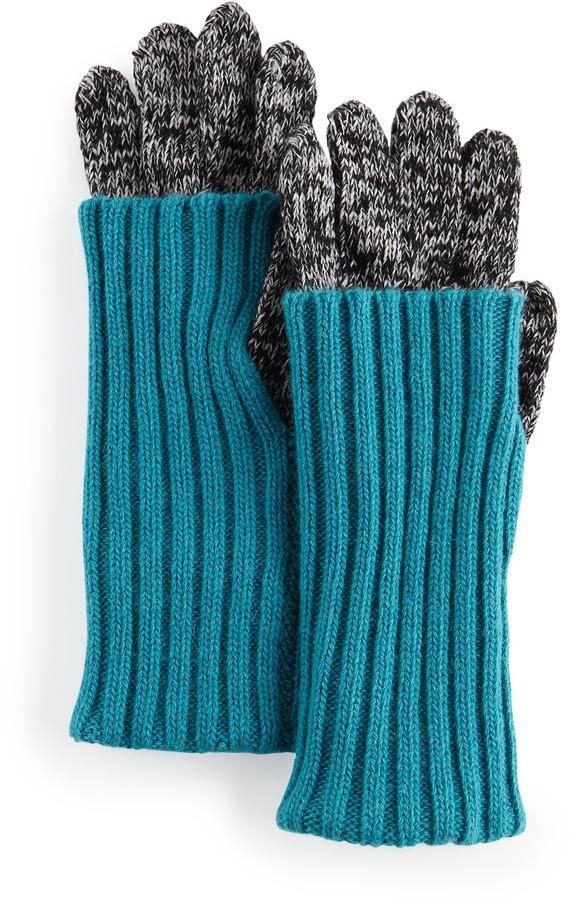 Grandoe Fold-Over Cuff Smart Gloves, Black/Turquoise