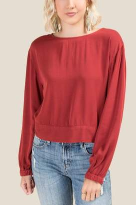 francesca's Tawny Long Sleeved Blouse - Cinnamon