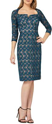 Kay Unger Geometric Embroidered Cocktail Sheath