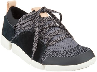 Clarks Leather/Mesh Casual Lace-Up Sneakers - Tri Amelia