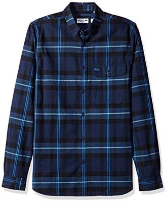 Lacoste Men's Long Sleeve Button Down with Pocket Tartan Plaid Poplin