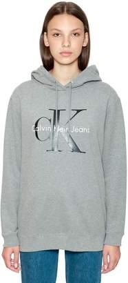 Calvin Klein Jeans Hooded Logo Printed Cotton Sweatshirt