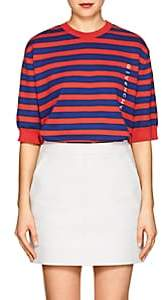 Givenchy Women's Logo Striped Compact Knit Cotton Top - Red
