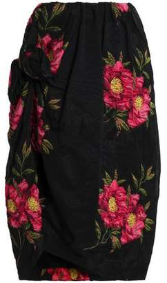 Simone Rocha Knotted Floral-Jacquard Skirt