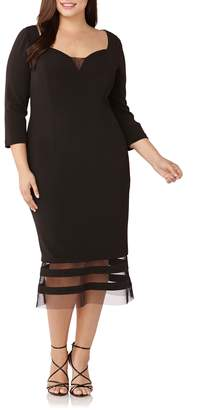 JS Collections Sweetheart Neck Mesh Inset Sheath Dress