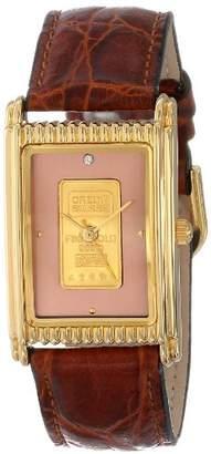 Consort Furniture Limited Men's AM983:1/01A03XX Genuine Swiss Ingot Copper Diamond Dial Leather Strap Watch