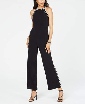 INC International Concepts I.n.c. Petite Contrast-Piping Halter Jumpsuit