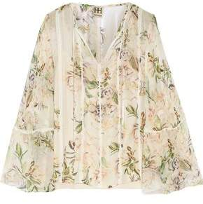 Haute Hippie Winds Of Change Lace-Trimmed Printed Silk-Chiffon Blouse