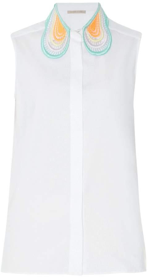 Christopher KaneCHRISTOPHER KANE Lace-collar sleeveless cotton shirt