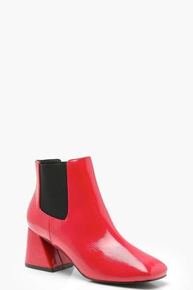 boohoo Flare Heel Ankle Chelsea Boots