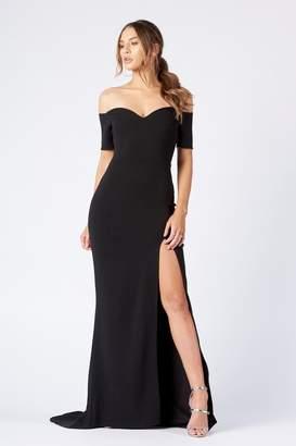 b40e8b18b03 Club L Womens   Bardot Thigh Split Maxi Dress By Black