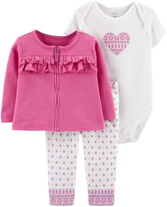 Carter's Baby Girl Ruffled Cardigan, Heart Bodysuit & Tile Leggings Set
