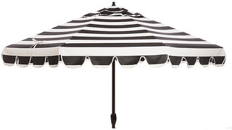 One Kings Lane Phoebe Scallop-Edge Patio Umbrella - Black/White