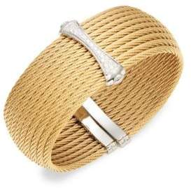 Alor 18K White & Yellow Gold Diamond Woven Cuff Bracelet