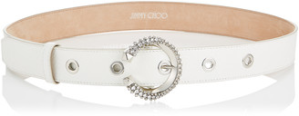 Jimmy Choo MADELINE BELT Latte Calf Leather Belt with Crystal Buckle