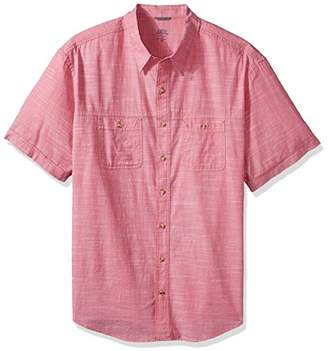 Izod Men's Size Dockside Chambray Solid Short Sleeve Shirt (Big Tall Slim)