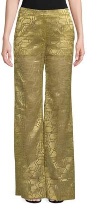 Akris Women's Christa Geometric Silk Wide-Leg Trousers