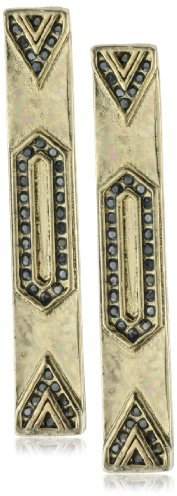House of Harlow 1960 Engraved Bar Pave Earrings