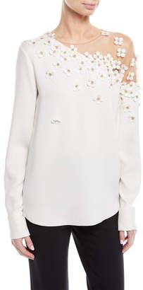 Oscar de la Renta Illusion-Neck Long-Sleeve Floral-Applique Silk Blouse