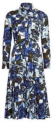 Prada Women's Rose-Print Poplin Utility Shirtdress
