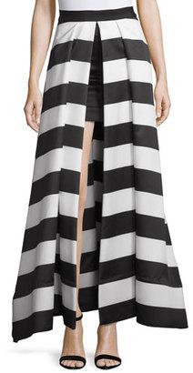 Alice + Olivia Mauri Split-Front Striped Skirt, Black/White $998 thestylecure.com