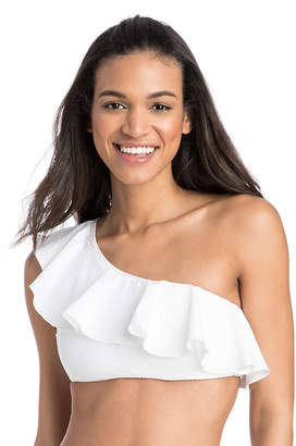 Vineyard Vines Seersucker One Shoulder Ruffle Top