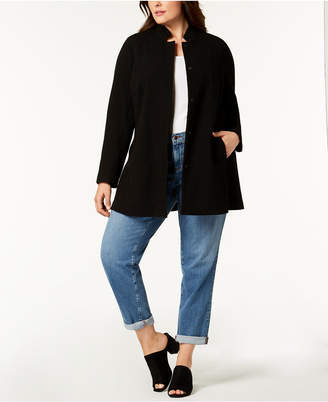 Eileen Fisher Plus Size Organic Textured Stand-Collar Jacket