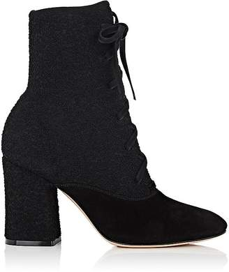 Gianvito Rossi WOMEN'S BOUCLÉ-KNIT & SUEDE ANKLE BOOTS