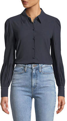 Co Stretch-Knit Blouse w/Pintucked Sleeves