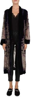 The Kooples Beaded Floral Velvet Burnout Kimono