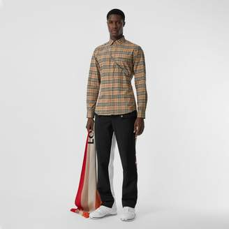 Burberry Small Scale Check Stretch Cotton Shirt