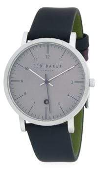 Ted Baker Stainless Steel and Leather-Strap watch