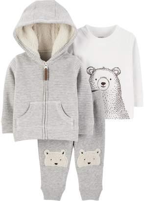 Carter's Baby Boy Striped Hoodie, Bear Tee & Fleece Pants Set