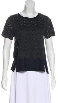 Marc by Marc Jacobs Lace-Trimmed Short Sleeve Top