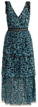 Self-Portrait Self Portrait Sequinned Tiered Tulle Midi Dress - Womens - Blue
