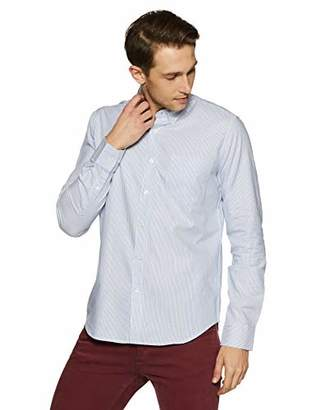 Casual Terrains Men's Tailored Slim-Fit Button-Down Collar Striped Shirt